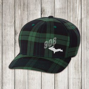 Green Plaid Cap with White and Silver Embroidery