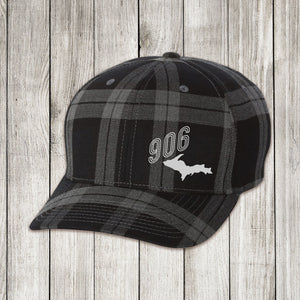 Grey Plaid Cap with White and Silver Embroidery
