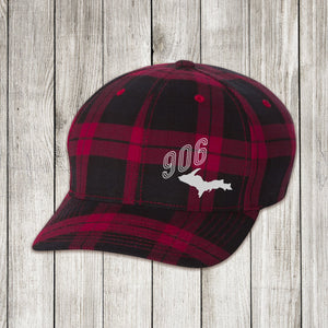 Red Plaid Cap with White and Silver Embroidery