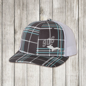 White mesh back Light blue white and grey plaid front