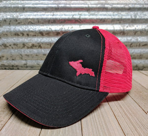 Black Cap With Pink Mesh Back and stitching