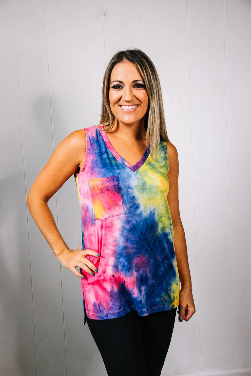 Tie Dye Tank V Neck w/ Side Slits