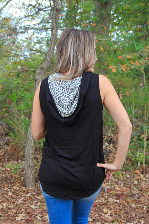 Sleeveless Solid Knit Top with Cheetah Hoodie