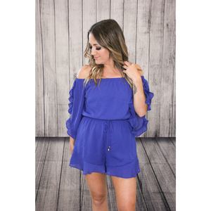 Royal Blue Off Shoulder Ruffled Romper