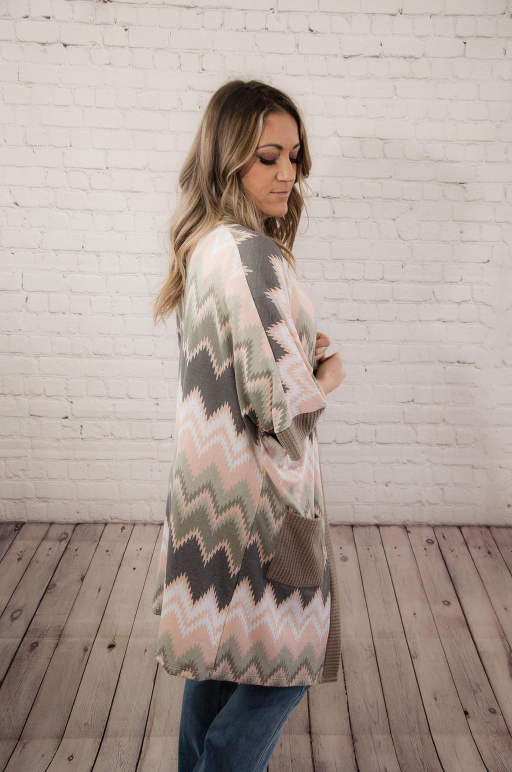 Peach & Sage Chevron Duster