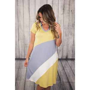 Yellow Lt Blue White Diagonal T Shirt Dress w Pockets