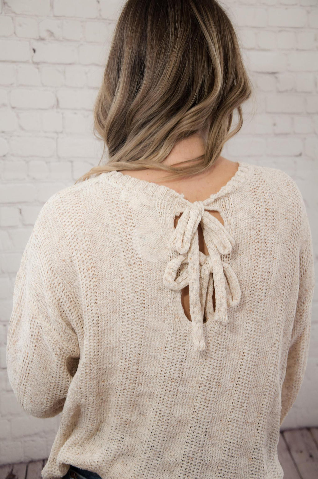 Oatmeal Knit Top w/ Back Ties