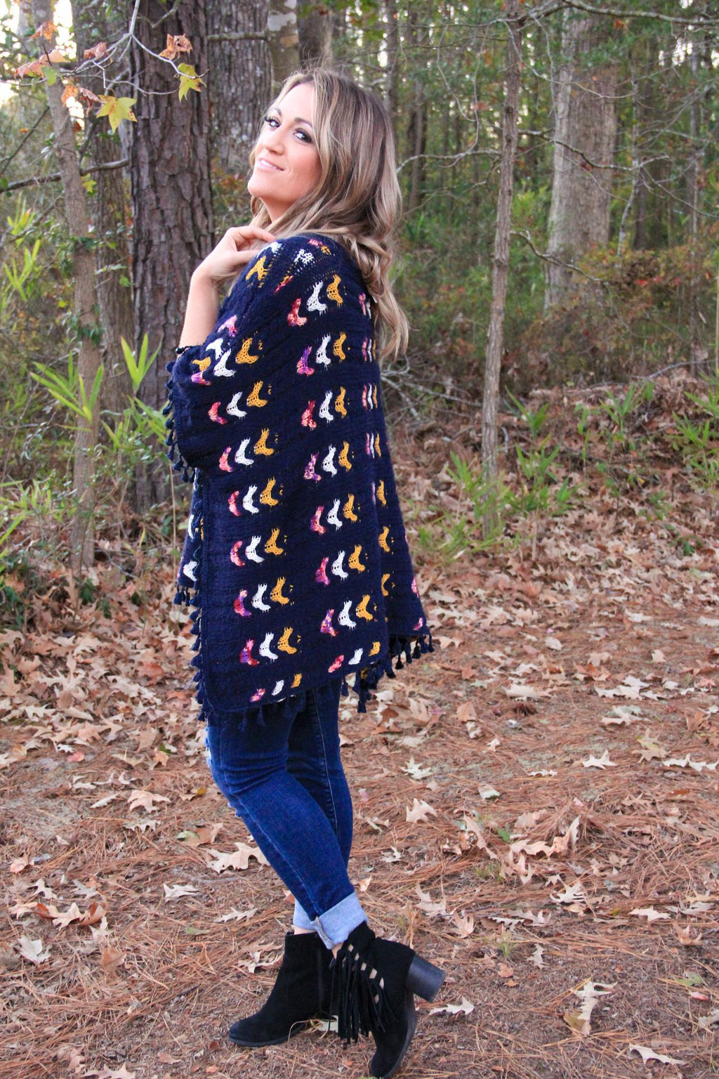 Poncho Knit Top w/ Tassel Trim