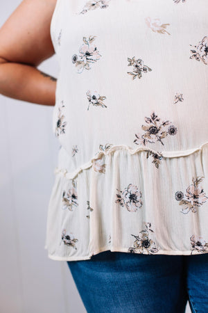 Off White Floral Baby Doll Sleeveless Top