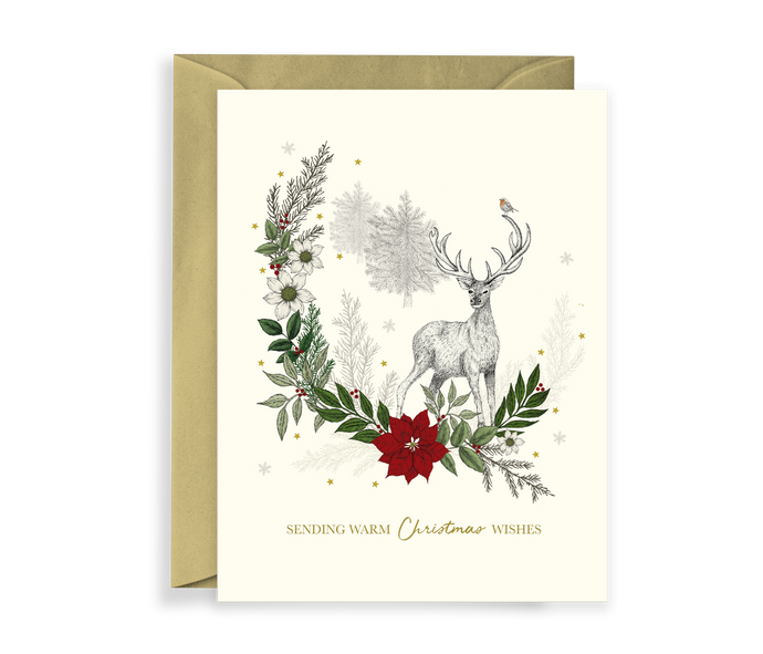 Hand illustrated luxury christmas card with a deer and foliage scene, comes with a kraft envelope