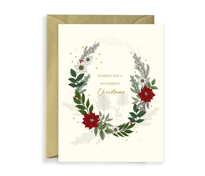 Hand illustrated luxury christmas card with a wreath of foliage and a deer in the background scene, comes with a kraft envelope