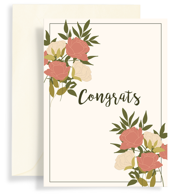 Illustrated greeting card with a beautiful rose bouquet design on a cream background. Text says 'Congrats