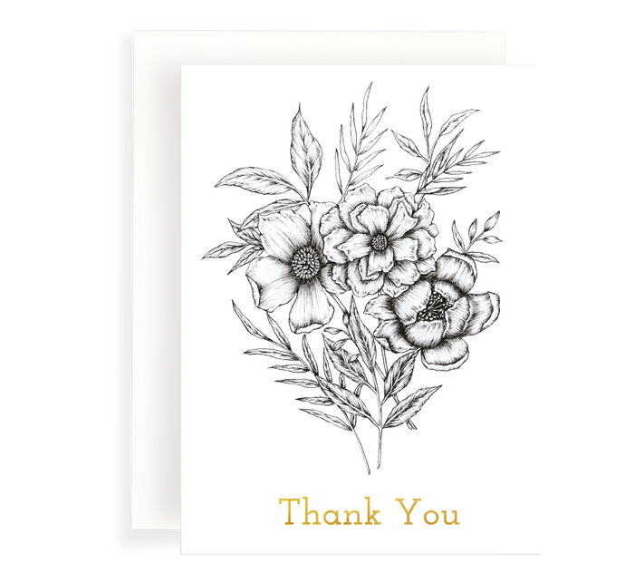Beautiful ink illustrated floral bouquet card on a white background. Gold foil text says