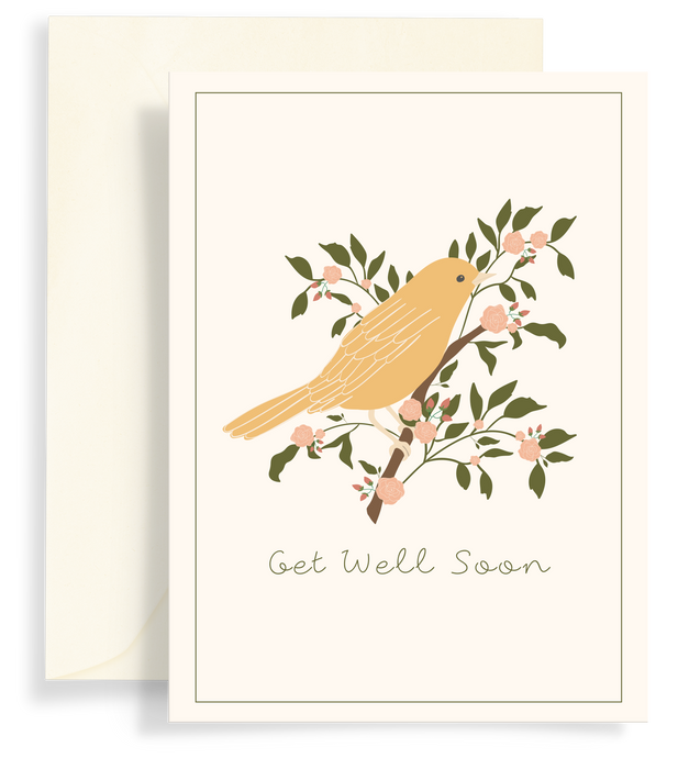 Beautiful illustrated greeting card with a pretty yellow bird on a floral branch with a cream background. Text says 'Get well soon'