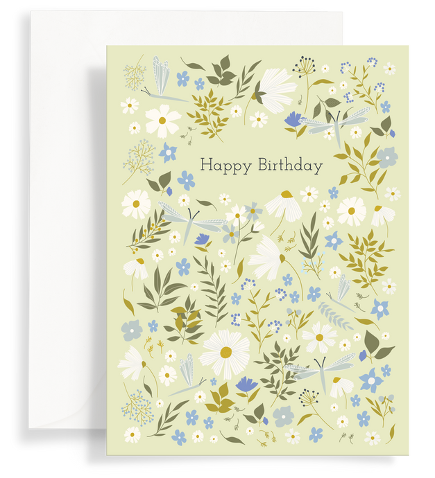 Illustrated greeting card with a lovely daisies and dragonflies pattern on a pale green background. Text says 'happy birthday'