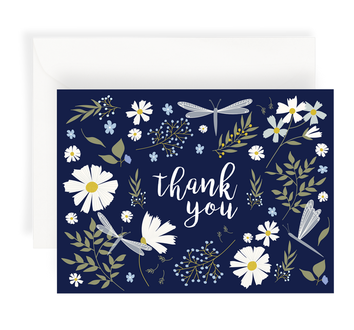 Illustrated greeting card with a lovely floral pattern including daisies and dragonflies on a dark navy background. Text says 'Thank You'