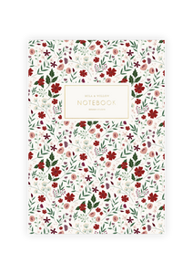 Lovel a5 notebook printed with a red floral pattern on the cover and printed endpapers. Gold foil accent text