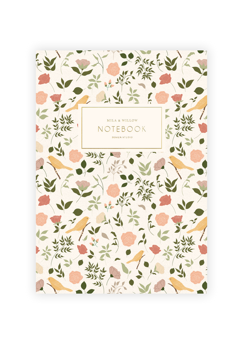 Lovely a5 notebook printed in a floral pattern with roses and birds. Gold foil text