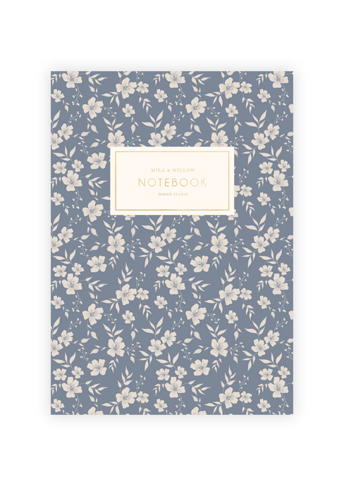 Lovely A5 notebook printed with a light blue vintage floral pattern on the cover and printed endpapers. Gold Foil accent text on cover