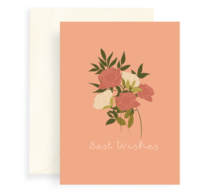Greeting Card with a beautiful rose bouquet design on a coral background. Text says 'Best Wishes'