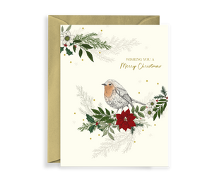 Hand illustrated luxury christmas card with a robin and foliage scene, comes with a kraft envelope