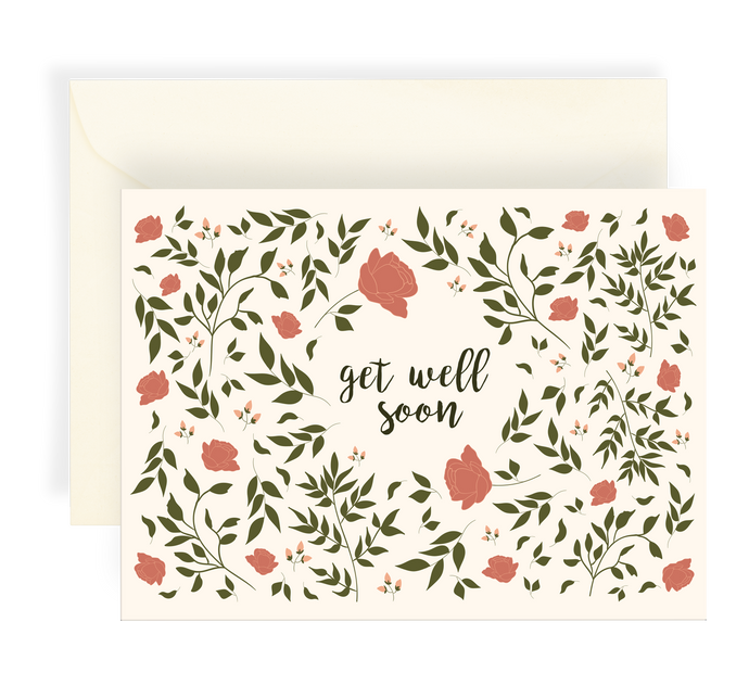 Lovely illustrated greeting card with a beautiful floral roses pattern on a cream background. Text says 'get well soon'