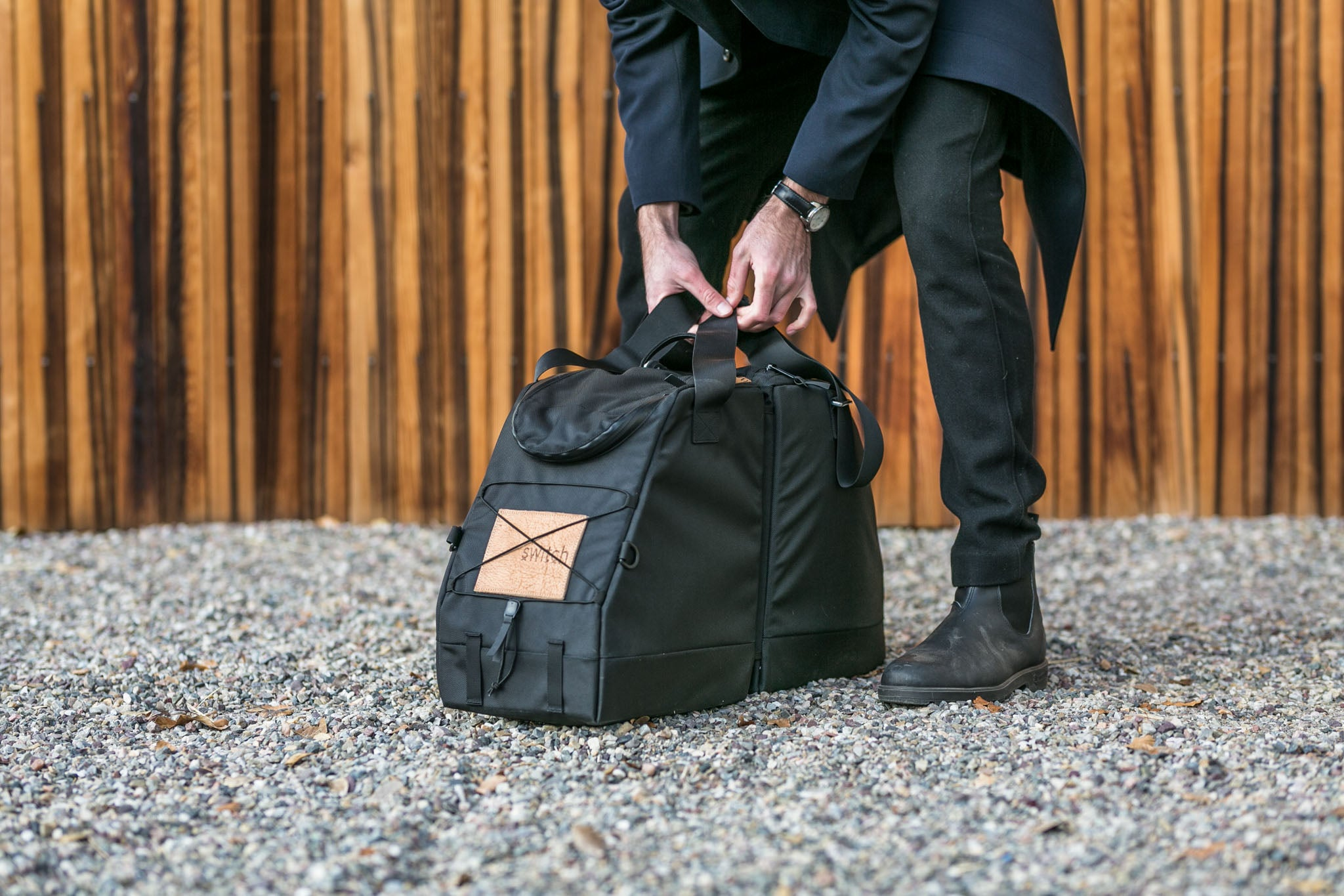 slim black Switch bootbag tote