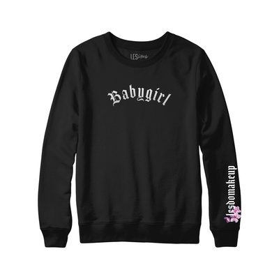 Black Embroided Babygirl Crew Neck