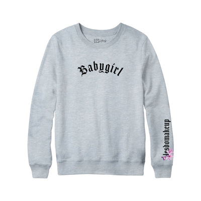 Gray Embroided Babygirl Crew Neck