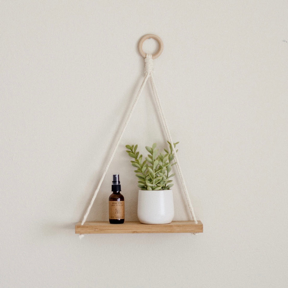 Macrame Pure Bamboo Hanging Plant Shelf