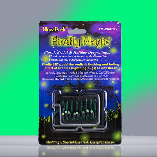 Firefly Magic Battery Powered Glow Pack-Floral Centerpiece Firefly Lights-Lightning Bug Fairy Lights-Indoor Magic for Weddings, Parties, Banquets - Patented to Match Real Fireflies-8 LED Lights-Green