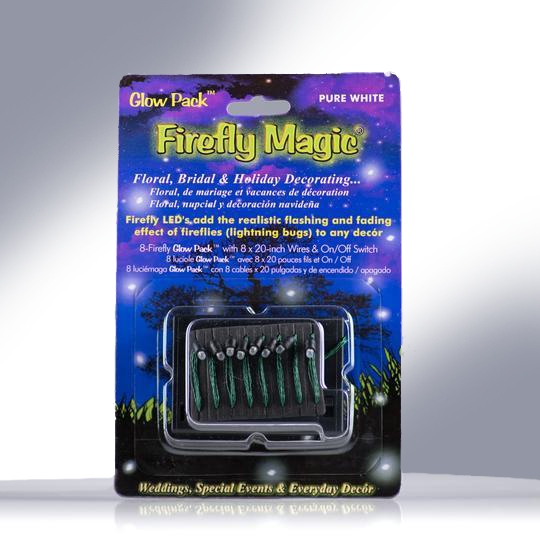Firefly Magic Battery Powered Glow Pack•Floral Centerpiece Firefly Lights-Lightning Bug Fairy Lights•Indoor Magic for Weddings-Parties-Banquets•Patented to Match Real Fireflies•8 LED Lights-Pure White