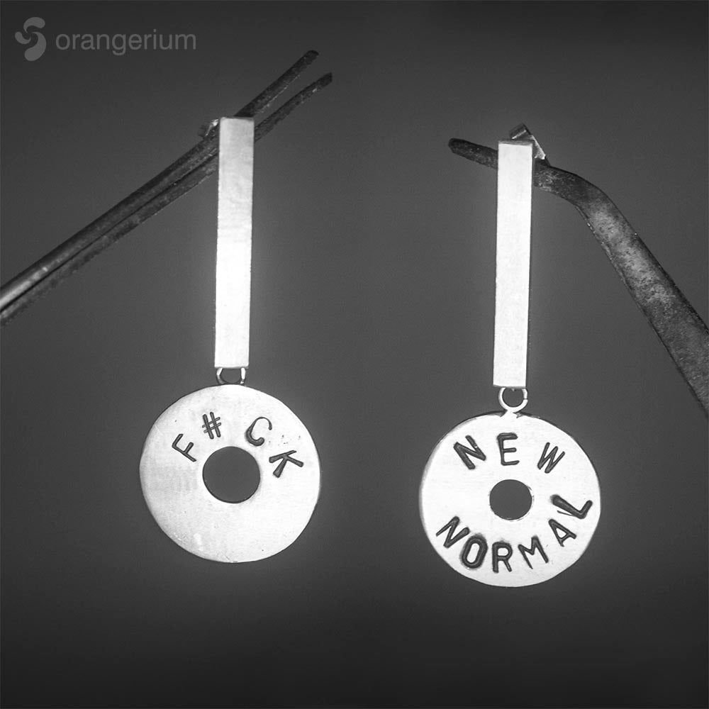 F#CK NEW NORMAL - LONG SILVER EARRINGS