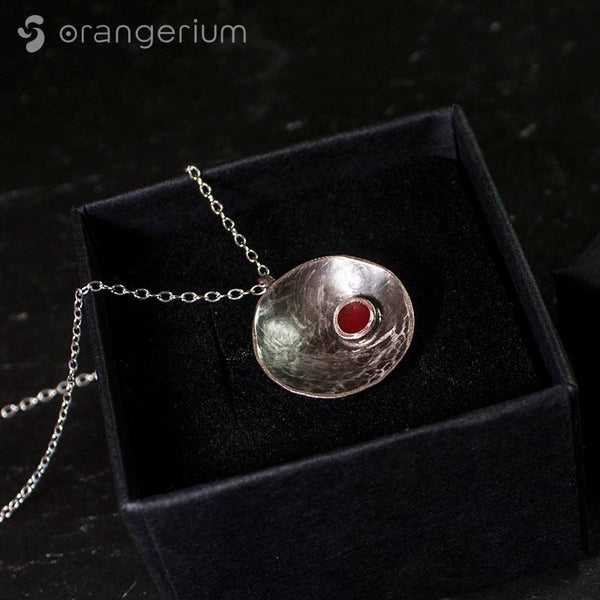 RED DOT - SILVER PENDANT