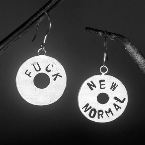 FUCK NEW NORMAL - SILVER EARRINGS