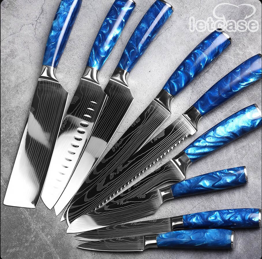 STAINLESS STEEL KNIFE SET WITH SHARPENER