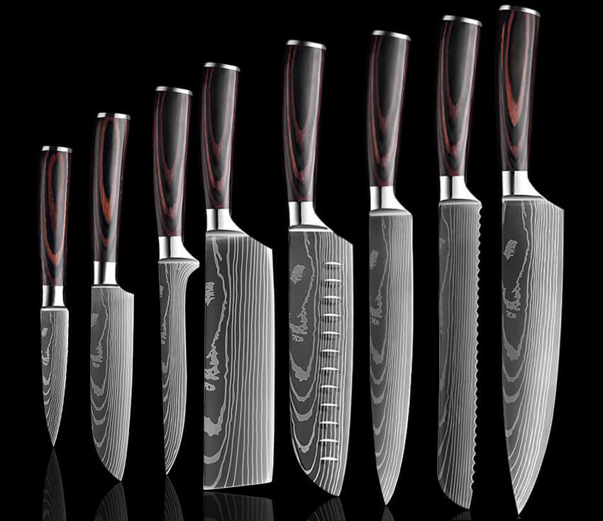 8-Piece Japanese Knives Set, High Carbon Stainless Steel Kitchen Knives