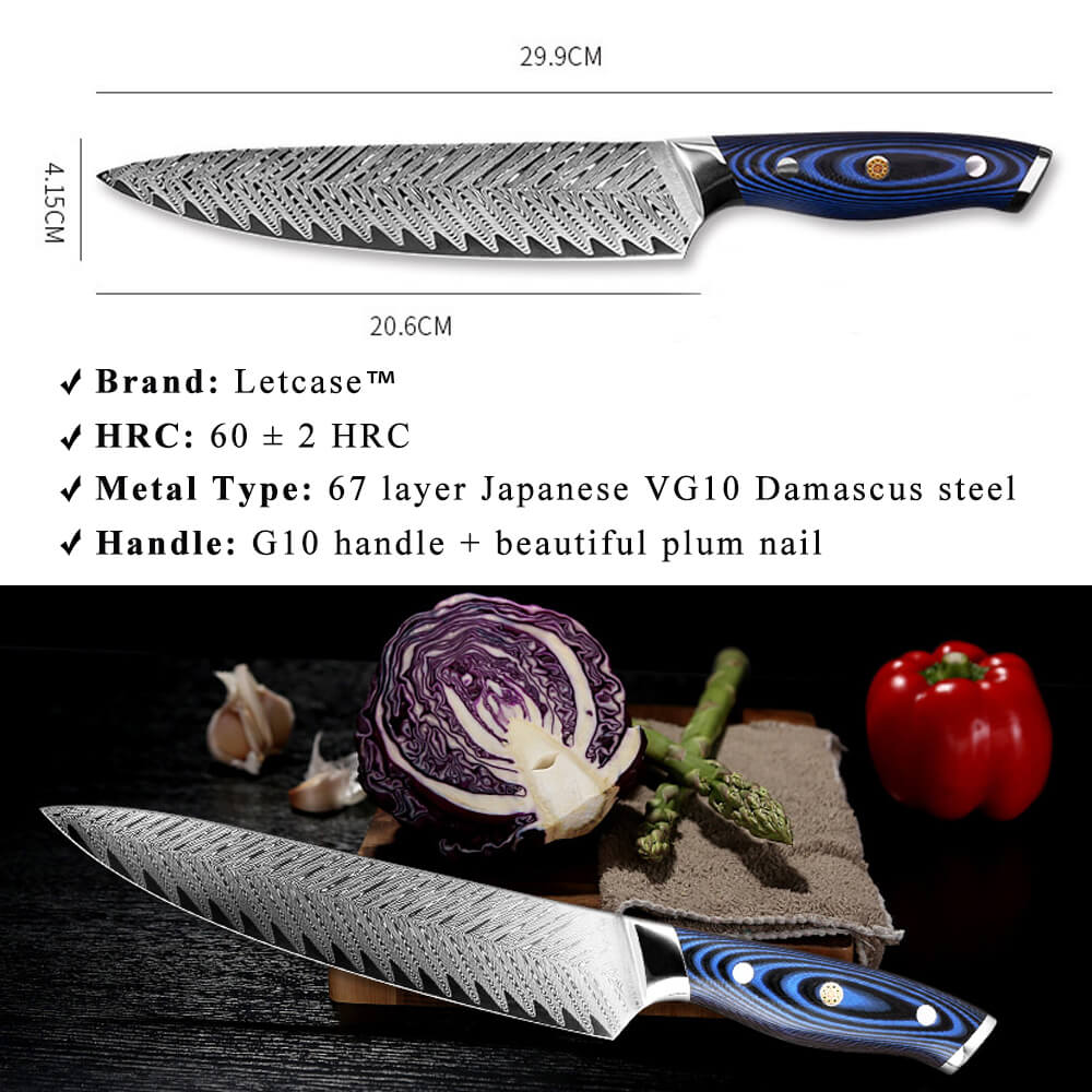 8 Inch Damascus Chef Knife - Size