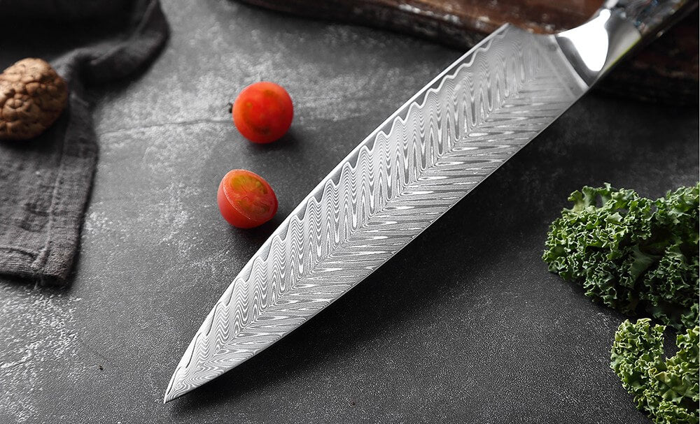Japanese Damascus Steel Knife Set With Abalone Shell Handle - Blade