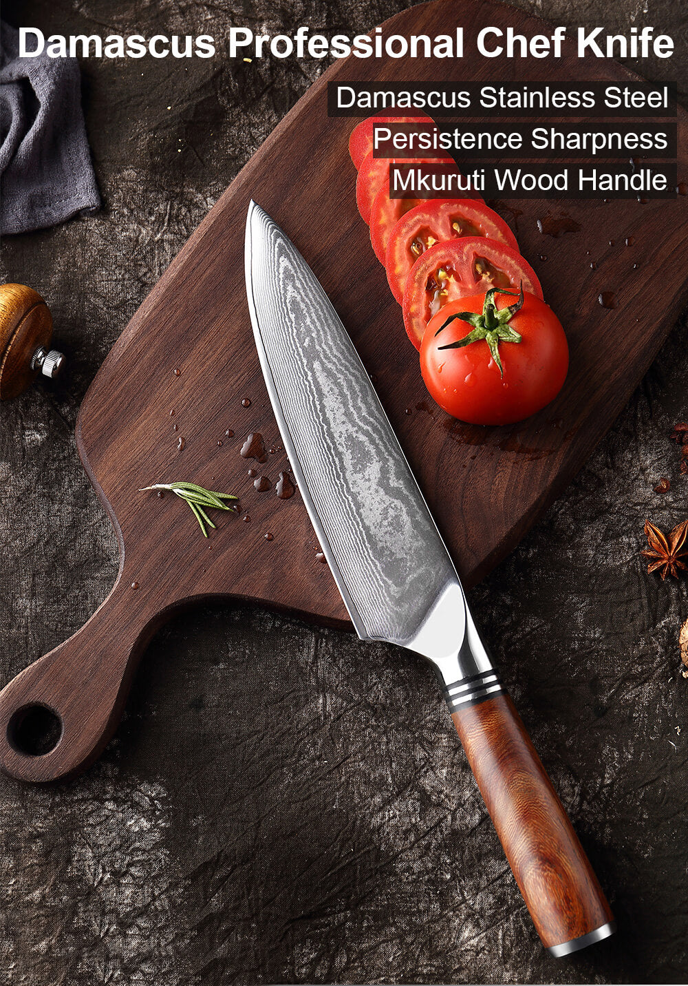 Japanese VG10 Damascus Chef Knife - Letcase Knives