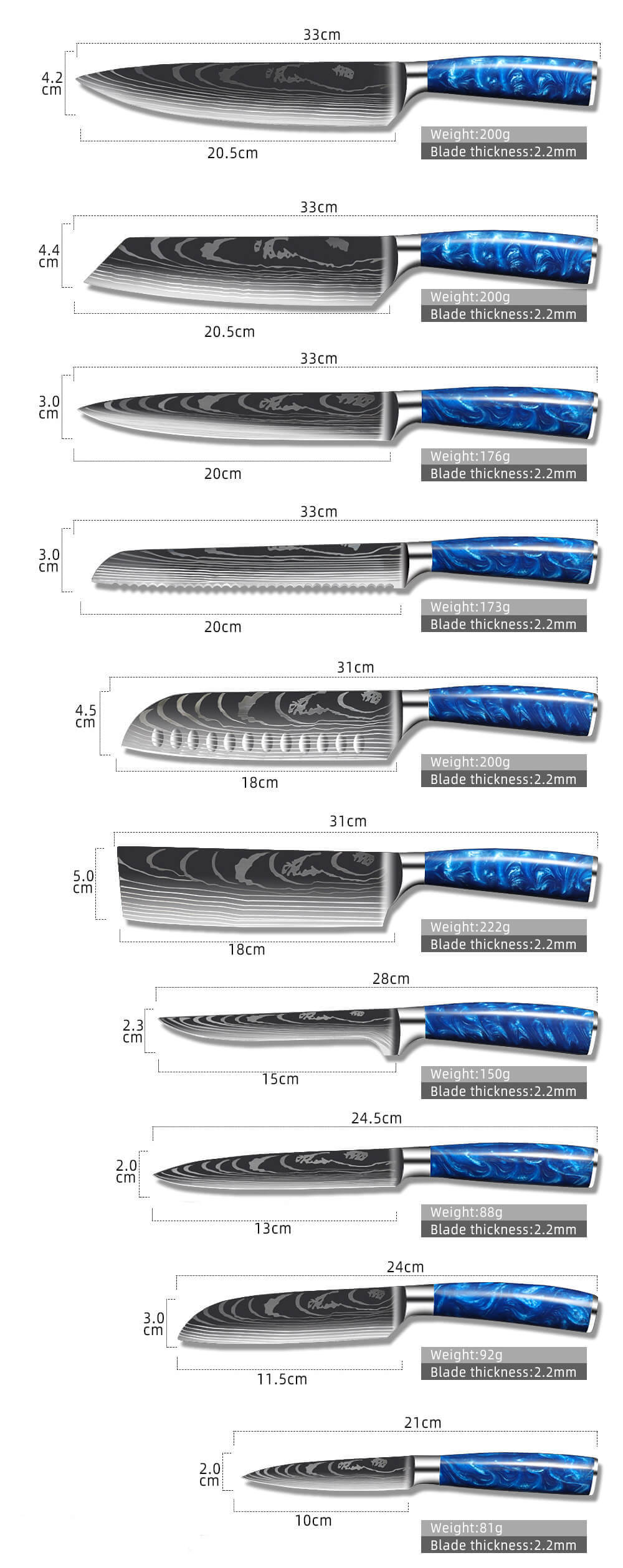 10 PIECE STAINLESS STEEL KNIFE SET, BLUE RESIN HANDLE