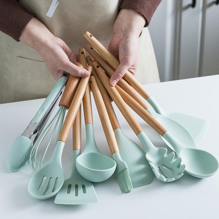 12 Pieces Silicone Cooking Utensils Set With Storage Box Kitchen Tools - Letcase