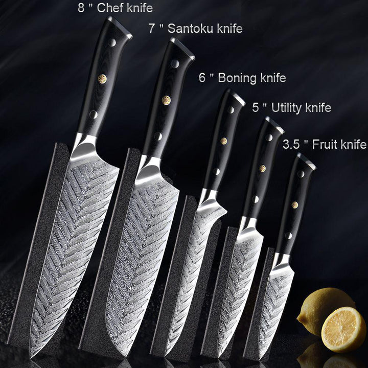HAND FORGED DAMASCUS STEEL CHEF KNIFE SET