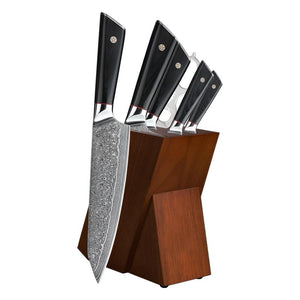 6PCS Japanese Damascus Steel AUS-10 Kitchen Knife Set With Block - Letcase