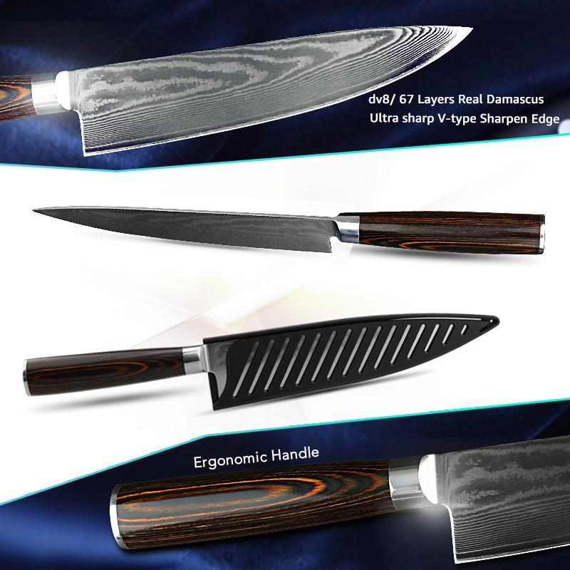 7/8 Inch Kitchen Knives Damascus Chef Knife - Letcase