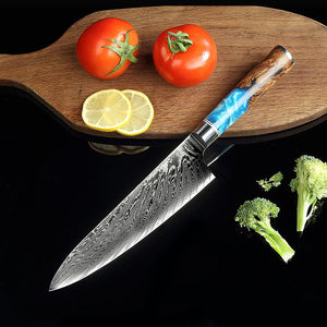 8 Inch Damascus Steel Kitchen Knives With Wooden Resin Handle - Letcase