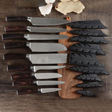 9-Piece Chef Knife Set 7CR17Mov Stainless Steel With Sheath - Letcase