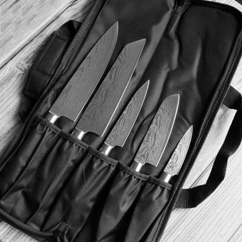 Chef Knife Set With Roll Bag