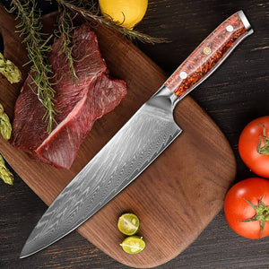 Damascus Blade Kitchen Knives, Chaff Resin Handle - Letcase