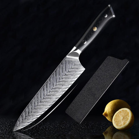 Fishbone Pattern Damascus Knife